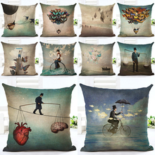 2016  New Arrive Hot Selling Classical Peolple Printing Linen Cotton Cushion Cover Throw Pillow Sofa Pillow Cojines