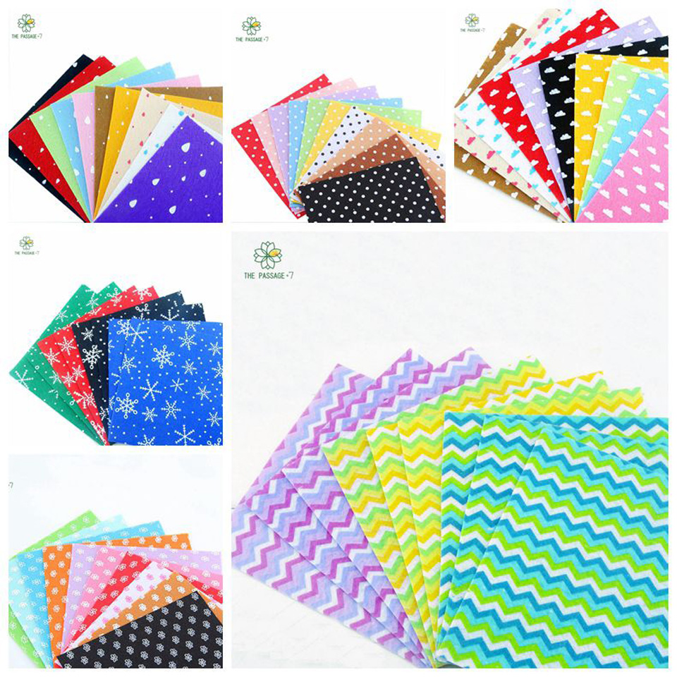 Craft felt polyester felt fabric 100% print 49PCS 5 pack combination polyester cloth handmade sewing material 15x15cm MZ-49-2(China (Mainland))