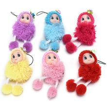 Cheap 8CM Height Kawaii Mini Plush Doll With Hat Phone Hanging Strap For Kids Toy Gift Random Color