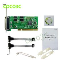 Combo 2S1P IEEE 1284 PCI Controller card PCI to RS-232 com + printer LPT1 port adapter + Low Profile Bracket(China)