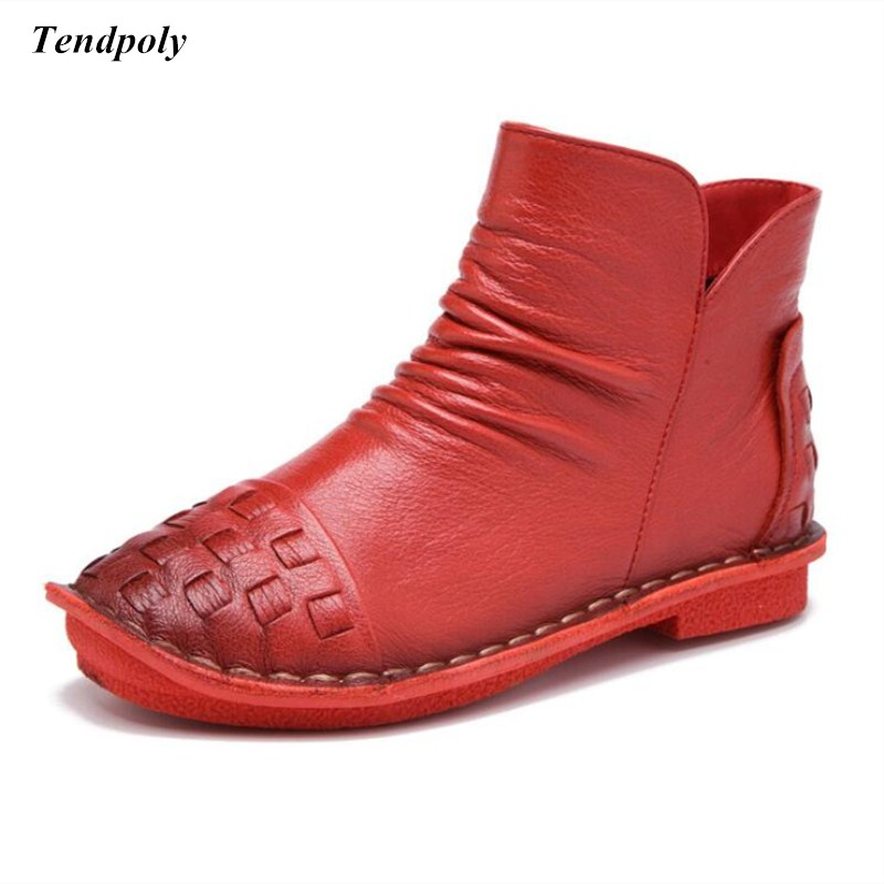 The spring and autumn 2018 new fashion leather Cowhide Womens shoes size (35-40) low all-match warm flat lady Casual boots<br>