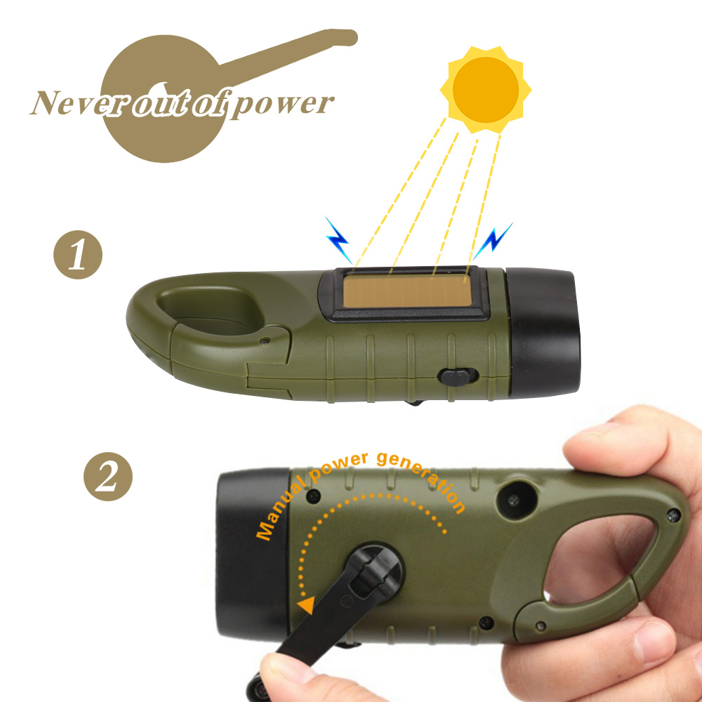 Professional Portable LED Hand Crank Dynamo Solar Power Flashlight Torch for Outdoor Camping Mountaineering Traditional Design (4)