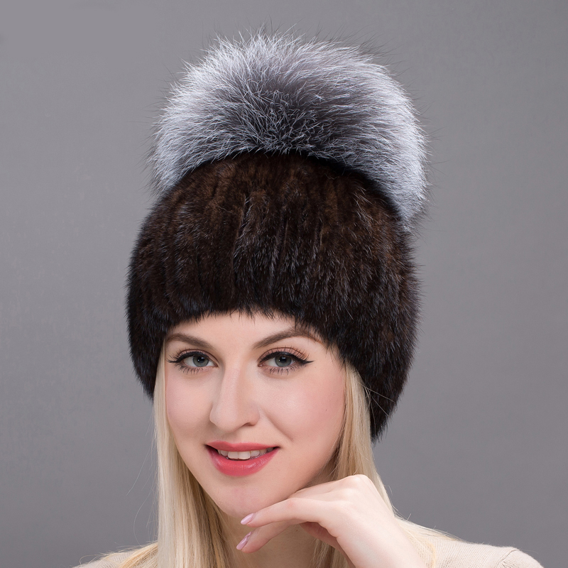 JKP 2018 winter warm hat Russian leather mink fur hat new brand winter knitted mink fur hat with fox fluffy ball caps DHY17-04