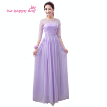 chiffon lace long lavender vintage applique bridesmaid dress round neck gowns occasionally dresses gown with sleeves B3466