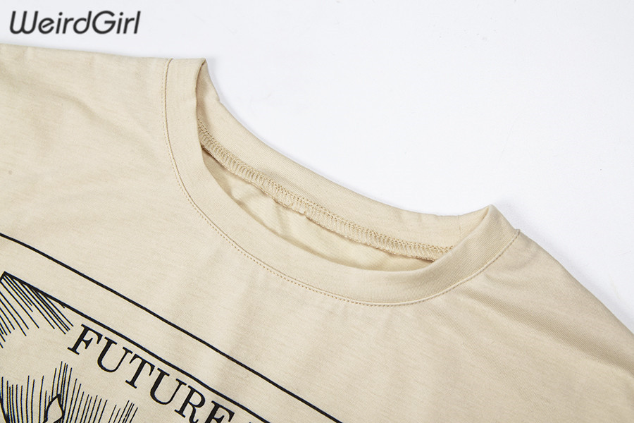 Weirdgirl women casual fashion t-shirt khaki letter sun moon print loose o-neck half sleeve elastic stretched summer home new 6