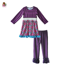 Factory Directly Selling New Style Kids Clothes Girls Set Striped Dress Purple Ruffle Pants Toddler Remake Outfits F174