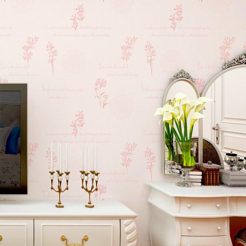 New Korean pastoral flowers pink fresh romantic warm 3d non-woven wallpapers bedroom living room TV backdrop wallpaper<br>