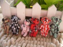 Joint Plush bear  toy dolls doll cloth doll joint bear plaid clothes mobile phone diy accessories decoration