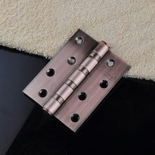 "1x Door Butt Hinges 4"" inch 4 Axises Brand Silencing Mute Red Bronze Brushed Stainless Steel Thicken 76.2x10.1x3mm Heavy Duty"