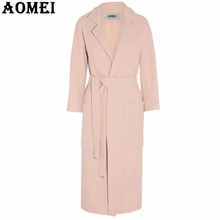 Woman Pink Wool Coat with Waist Belt Long Sleeve Woolen Winter Cape Tops Outerwear Clothing Workwear for Office Ladies Winter(China)