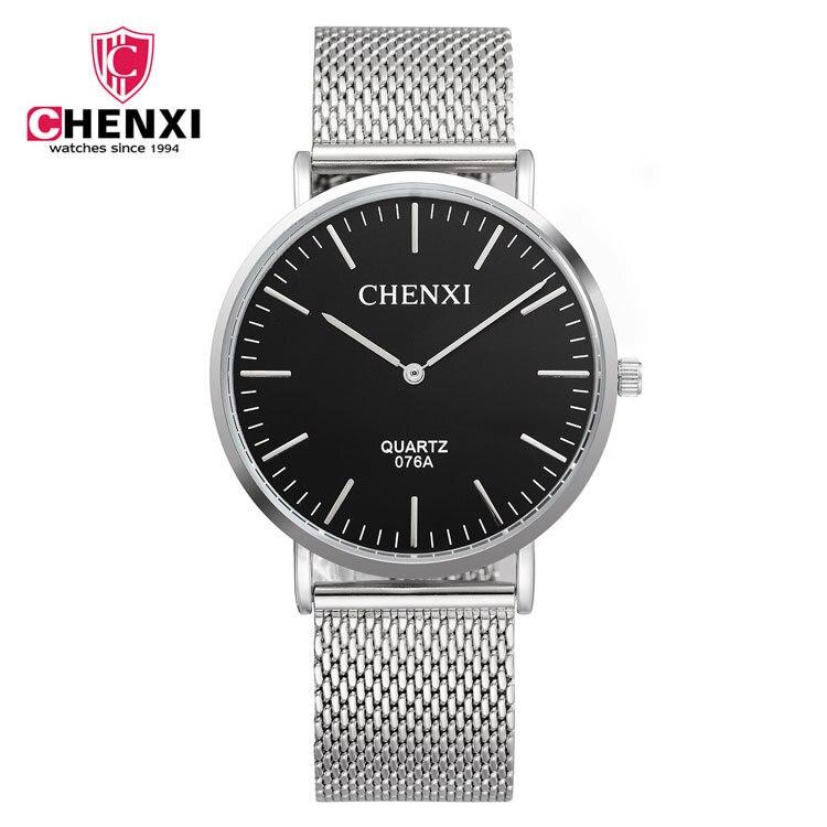 The Latest CHENXI Full Stainless Steel Black Blue White Quartz Wrist Watch Men Male Wristwatches 1pc/lot Wholesale 076A<br><br>Aliexpress