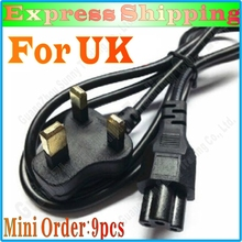 EXPRESS SHIPPING New 9pcs AC Power Cord Lead 3 Pin Clover For UK PLUG PC LCD LED Cable 3 Prong Laptop Good Quality(China)