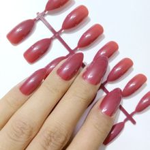 False Stiletto Nail Tips Chocolate Red Wine Acrylic Nail Tips Full Cover Nails Makeup Salon Product E198(China)