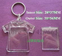 Free shipping 3pcs/lot Clothes Shaped Transparent Blank Insert Photo Picture Frame Key Ring Split keychain