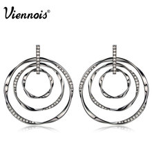 Viennois Silver Gun Color Round Stud Earrings for Women Rhinestone Triple Twisted Circles Earrings Female Copper Earrings(China)