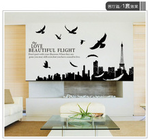 & large 180x70cm Paris Eiffel Tower birds landscape Living room bedroom background glass door Wall Stickers Home Decor poster
