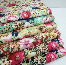 Wholesale 4 colour Elastic printing imitation denim fabric, print satin fabric,tweed fabrics floral cotton fabric B201