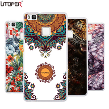 P9 For Fundas Huawei P9 lite transparent Silicone TPU Cover Mandala cat lion Elk DIY telephone Case For Huaweip9 P 9 mini 5.2""