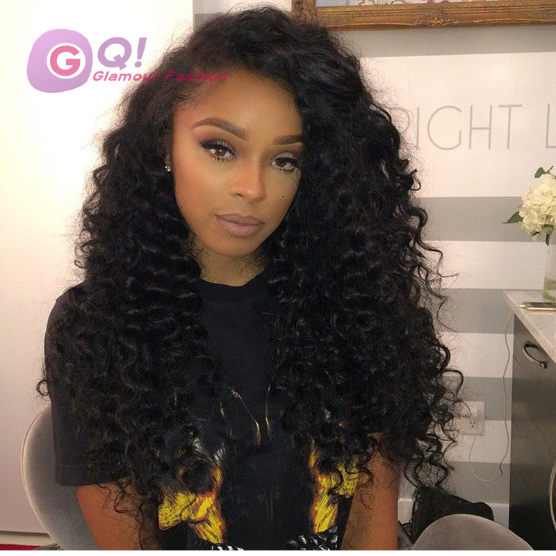 GQ glueless full lace wigs deep wave lace front wigs malaysian virgin deep curly human hair wig for black women with baby hair<br><br>Aliexpress