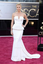 Charlize Theron 85th Annual Academy Awards Notched Neckline Beaded Mermad White Chiffon Celebrity Dress with train