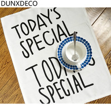 DUNXDECO 1PC 35x45CM Modern Simple Black Words Special Day Cotton Table Placemat Bar Coffee Store Home Table Mats Photo Prop