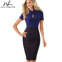 Nice-forever Vintage Contrast Color Patchwork Wear to Work Knot vestidos Bodycon Office Business Sheath Women Dress B430(China)