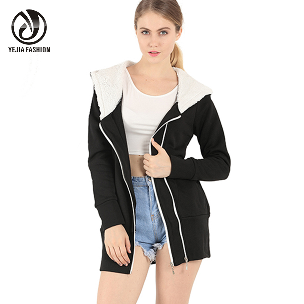 YEJIA FASHION Hooded Winter Jacket Women Long Sleeve Zipper Up Stylish Warm Down Coat 2017 Paaded Velevt Outwear Black Gray TopsОдежда и ак�е��уары<br><br><br>Aliexpress
