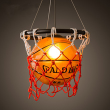 American retro creative personality restaurant bar table stores stadium sports theme Art Deco pendant lamp basketball(China)