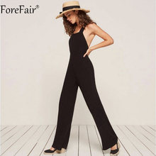Nadafair 95% Cotton Knitting Backless Criss Cross Casual Women Jumpsuit Sleeveless Long Pants Black Wide Leg Rompers(China)