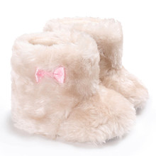 Hot selling !!! Newborn Baby Girl Bowknot Fluffy Velvet Shoes Soft Sole Crib Toddler Anti-Slip Cute snow boots infants JD Loviny(China)