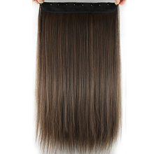 Your Style 24''Straight Hair Piece Natural Clip In Hair Extensions 10 '' Width 5 Clips Brown Synthetic Hairpiece Heat Resistant