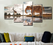 5 Pieces Printed Elephant and Giraffe Painting Canvas Print Cuadros Decoracion Home Decoration For Living Room Unframed