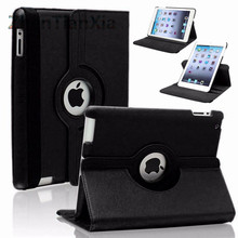 Hot New 360 Rotating Screen Protector For Case Apple iPad 2 iPad 3 iPad 4 PU Leather Smart Stand Flip Case Cover