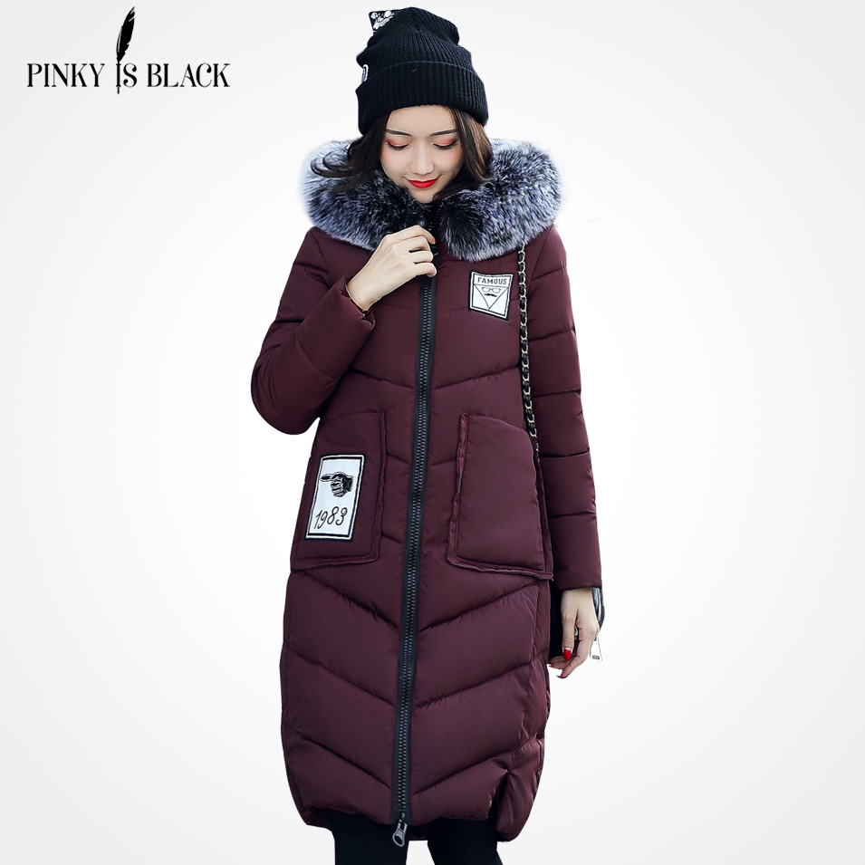 Pinky Is Black 2017 Winter jacket women large fur outerwear long down cotton-padded jacket coat wadded jacket winter coat womenÎäåæäà è àêñåññóàðû<br><br>