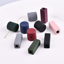 50pcs/lot color Rubber paint geometry square/Cylindrical shape fashion bead diy jewelry earring/necklace/bracelet Beaded pendant(China)