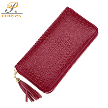 Prettyzys Luxury Brand Designer Genuine Leather Long Women Wallet Female Card Holder Coin Mobile Phone Alligator Large Tassel(China)