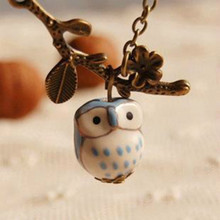 Flyleaf Lovely Ceramic Twig Owl necklaces & pendants for Women 2015 Handmade colar vintage Jewelry Girl Accessories(China)