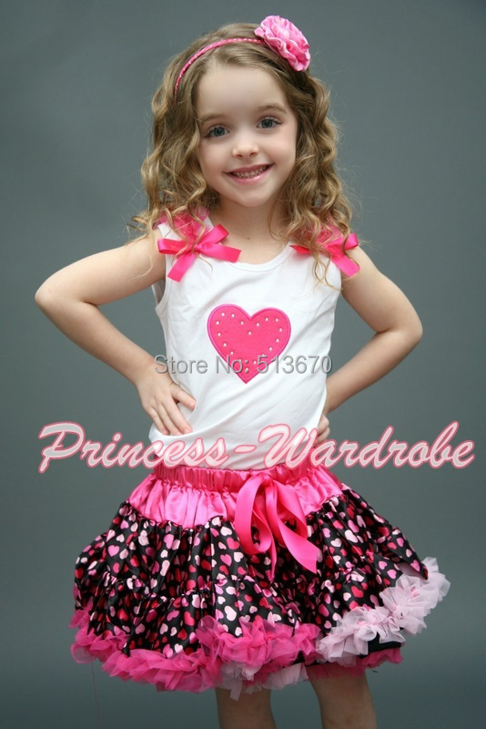 VALENTINE White Pettitop Top in Hot Pink Ruffle Heart Hot Light Pink Heart Pettiskirt 1-8Y MAPSA0238<br>