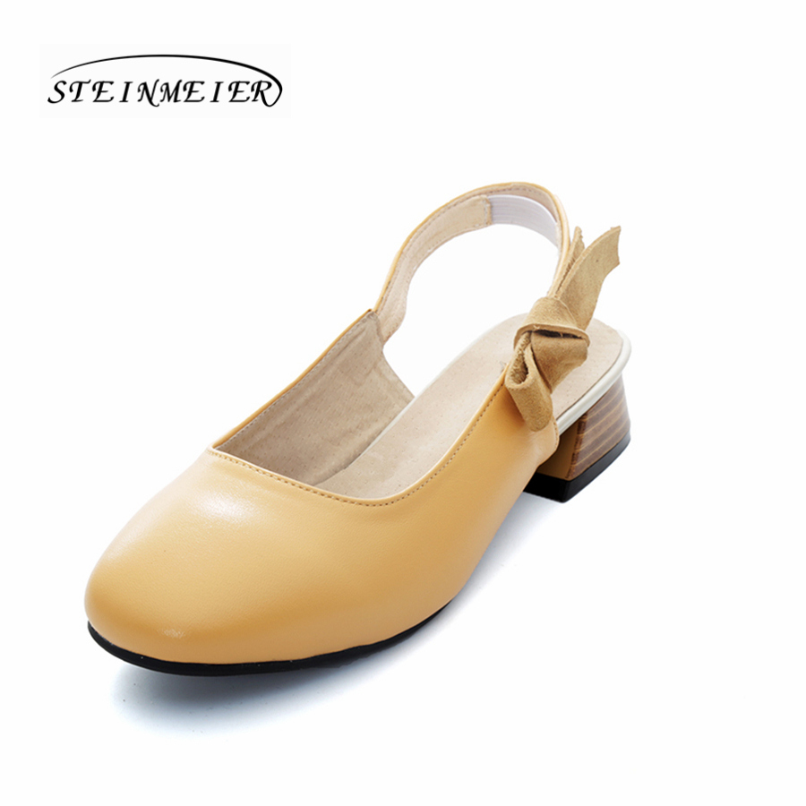 Women genuine leather sandals square toe handmade bow white beige strap sandals British oxford shoes<br>
