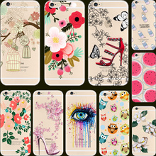 "6/6S Painting Charm Color Eyes Peony Flower Cute Sika Soft TPU Phone Cases For Apple iPhone 6 6S 4.7"" Case Cover Shell Hot Sold!"