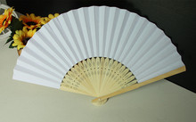 Free Shipping 100 pcs/lot 21 cm Wedding White color Paper Hand Fan Wedding Party Decoration Promotion Favor
