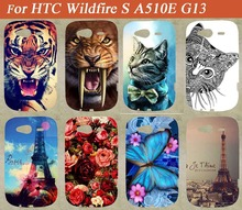 Original New Brand 14 Colors case For HTC Wildfire S A510E G13 Eiffel Tower Stylish Stand Function Cute Animals type case cover(China)