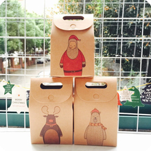 Tronzo 5pcs/lot Christmas Gifts Box Paperboard Santa Claus Pattern kraft paper Retro Candy Box Bag Navidad Christmas Decoration(China)