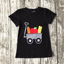 new arrival baby boys short sleeve icing boutique back to school black top shirts raglans cotton bus clothes