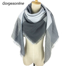 2017 Very beautiful oversized square wrap shawl new design color winter plaid blanket scarf dress(China)