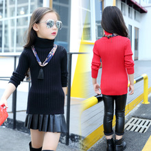 Childrens Kids Girls Fleece Winter Pilling Turtleneck Pullovers Warm Sweaters no Scarf 2 Colour Kids Clothing(China)