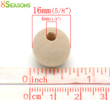 "8SEASONS 100PCs Natural Ball Wood Spacer Beads 16mm( 5/8"")Dia. (B20698)"