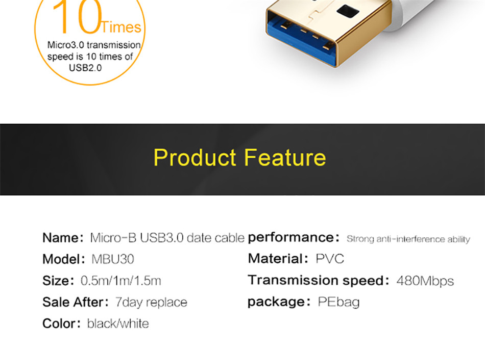 QGEEM 1M USB 3.0 Type A to Micro B Extension Cable For External Hard Drive Disk HDD Samsung S5 Note3 USB HDD Data Cable          (2)