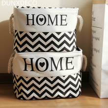 DUNXDECO 1PC Modern White Black Wave Love Home Linen Cotton Home Office Storage Basket Book Magzine Table Organize Decoration
