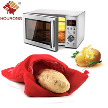 2Pcs/lot Red Potato Bag Cook Microwave Baking Potato Cooking Reuse Water Retention Bag Fast Roast Kitchen Gadgets Cooking Tool(China)